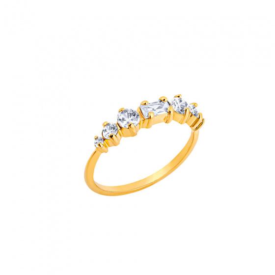 """Εικόνα του """"Ασημένιο δαχτυλίδι """"Crystallized"""" επίχρυσο"""""""
