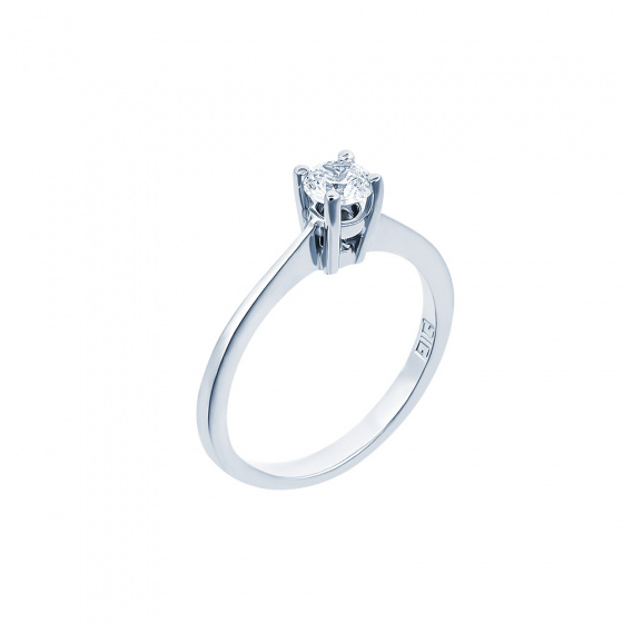 "Image of """"Eternity Premium 011"" white gold engagement ring K18 with VS2 diamond"""