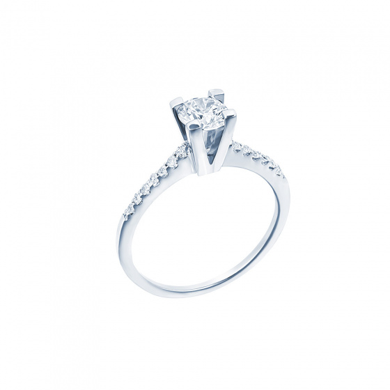 "Image of """"Eternity Premium 013"" white gold engagement ring K18 with VS1 diamond"""