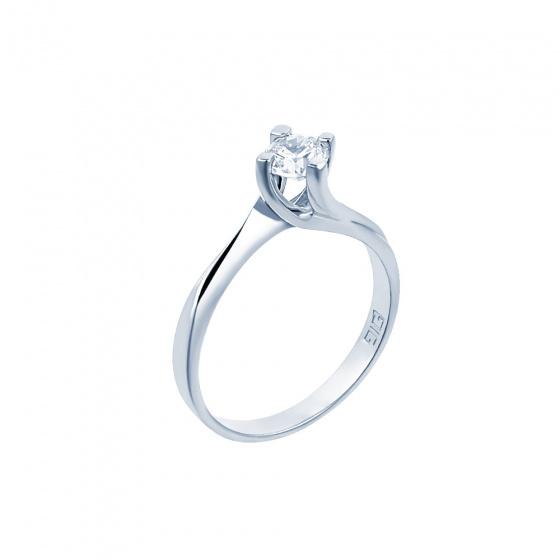 "Image of """"Eternity Premium 017"" white gold engagement ring K18 with VS2 diamond"""