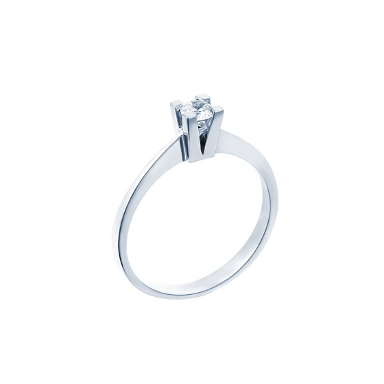 "Image of """"Eternity Premium 037"" white gold engagement ring K18 with VS1 diamond"""