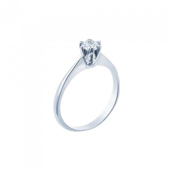 "Image of """"Eternity Premium 048"" white gold engagement ring K18 with VS2 diamond"""