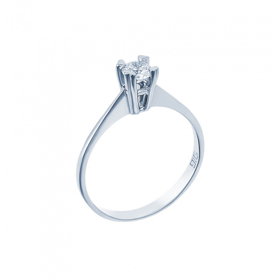 "Image of """"Eternity Premium 001"" white gold engagement ring K18 with VS2 diamond"""