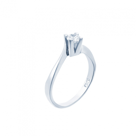 "Image of """"Eternity Premium 018"" white gold engagement ring K18 with VS1 diamond"""