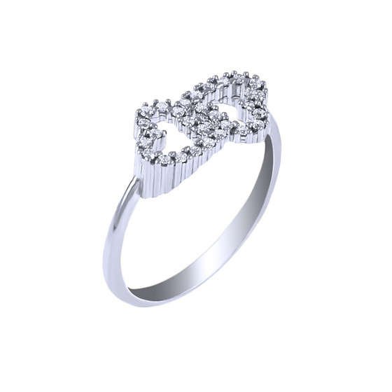 """Image of """"""""Twin Hearts"""" white gold ring K14"""""""