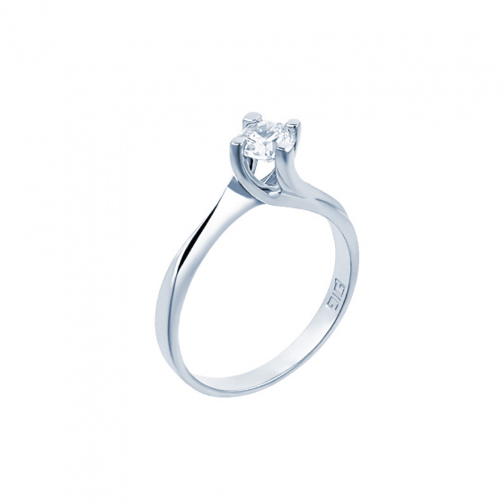 "Image of """"Eternity Premium 017"" white gold engagement ring K18 with VS1 diamond"""