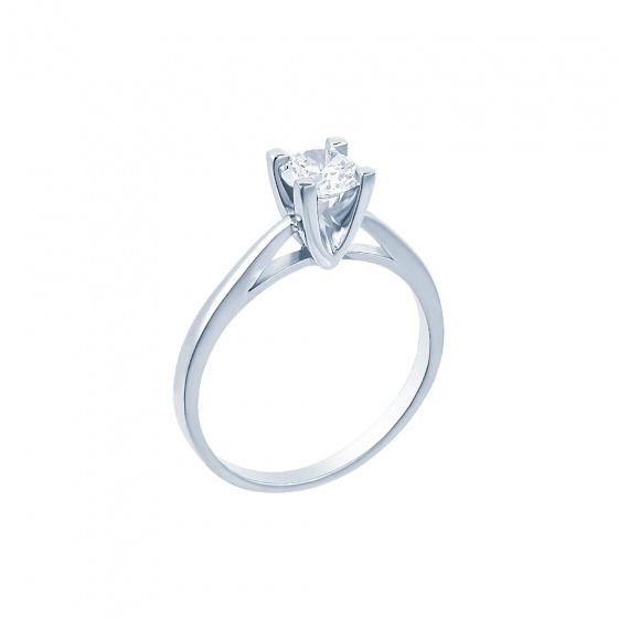 "Image of """"Eternity Premium 020"" white gold engagement ring K18 with VS1 diamond"""
