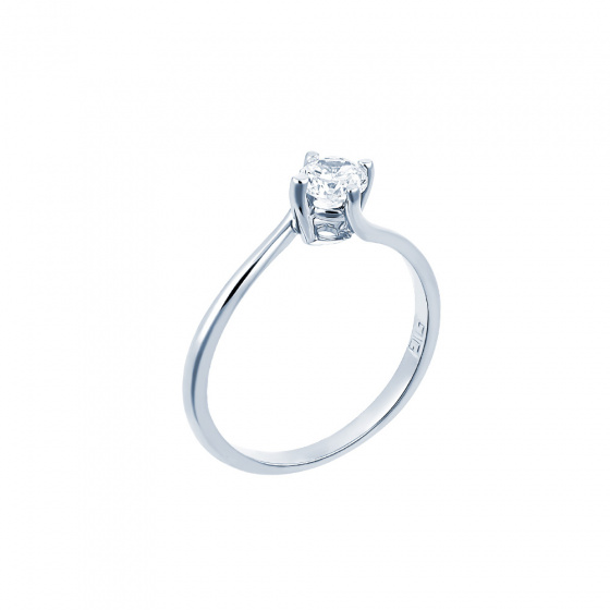 "Image of """"Eternity Premium 050"" white gold engagement ring K18 with VS1 diamond"""