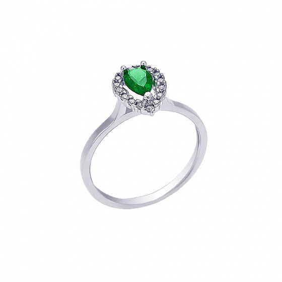 """Image of """"""""A Green Teardrop"""" white gold ring K14"""""""