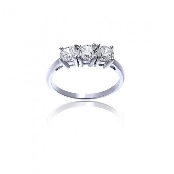 """Εικόνα του """"Λευκόχρυσο δαχτυλίδι Κ14 """"Triple Shine"""""""""""