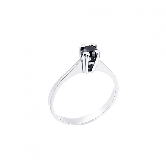 "Image of """"Eternity Premium 001"" white gold engagement ring K18 with black diamond"""