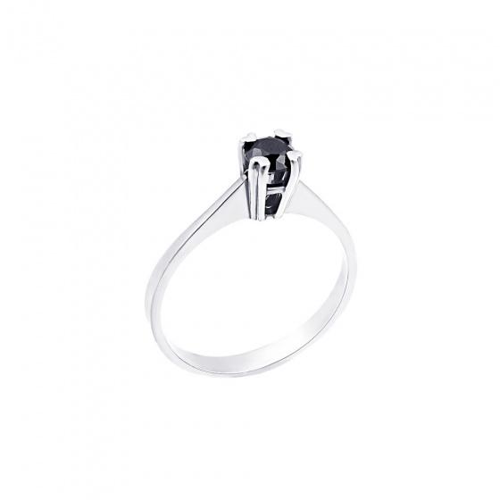 """Εικόνα του """"Λευκόχρυσο μονόπετρο Κ18 """"Eternity Premium Black 001"""" με μαύρο διαμάντι"""""""