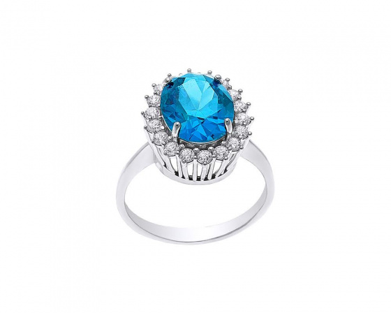 """Image of """"""""Turquoise Baroness"""" white gold ring K14"""""""