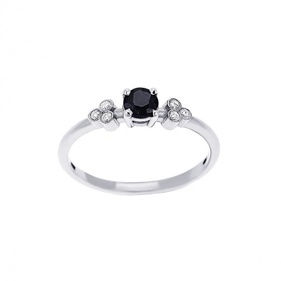 "Image of """"Triple Vintage Black"" white gold ring K14"""