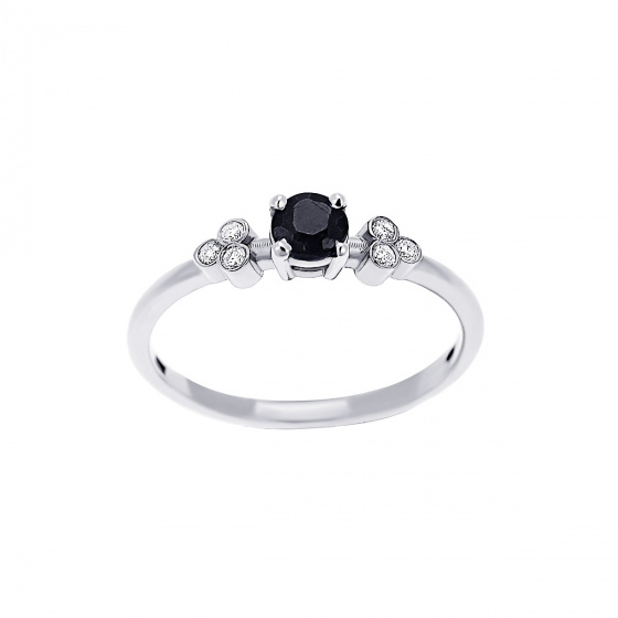 """Εικόνα του """"Λευκόχρυσο δαχτυλίδι Κ18 """"Triple Vintage Black"""" με μαύρο διαμάντι"""""""