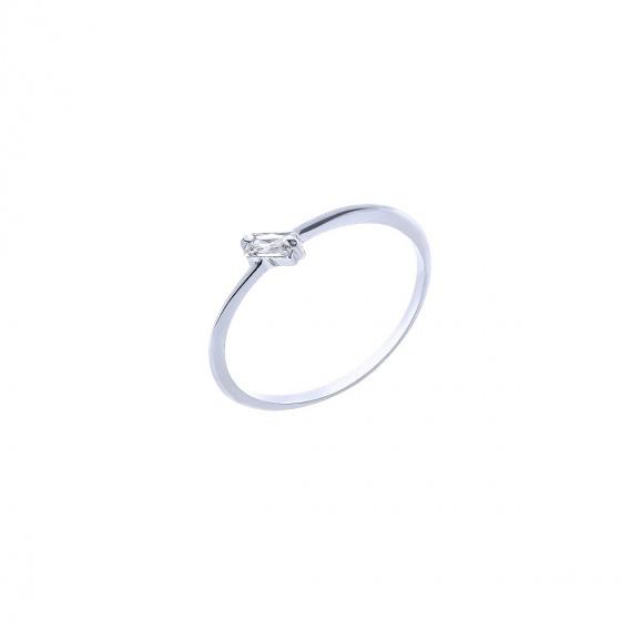 """Εικόνα του """"Λευκόχρυσο δαχτυλίδι Κ14 """"Baguette"""""""""""