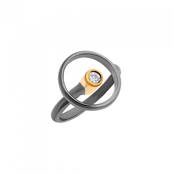 "Image of """"Transparent Circle"" silver ring black rhodium plated"""
