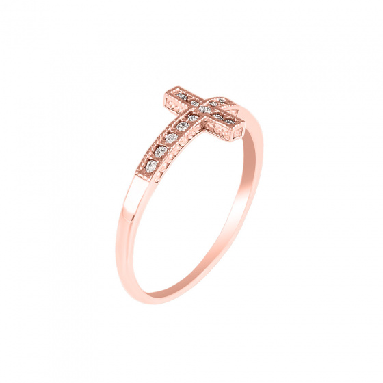 "Image of """"Holy Cross"" rose gold ring K14"""