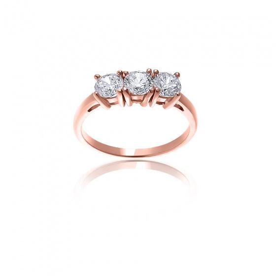 """Εικόνα του """"Ροζ χρυσό δαχτυλίδι Κ14 """"Triple Shine"""""""""""