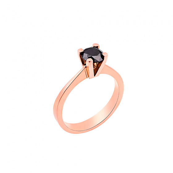 "Image of """"Eternity Premium 009"" rose gold engagement ring K18 with black diamond"""
