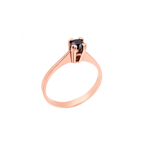 "Image of """"Eternity Premium 001"" rose gold engagement ring K18 with black diamond"""