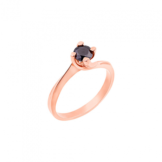 "Image of """"Eternity Premium 017"" rose gold engagement ring K18 with black diamond"""
