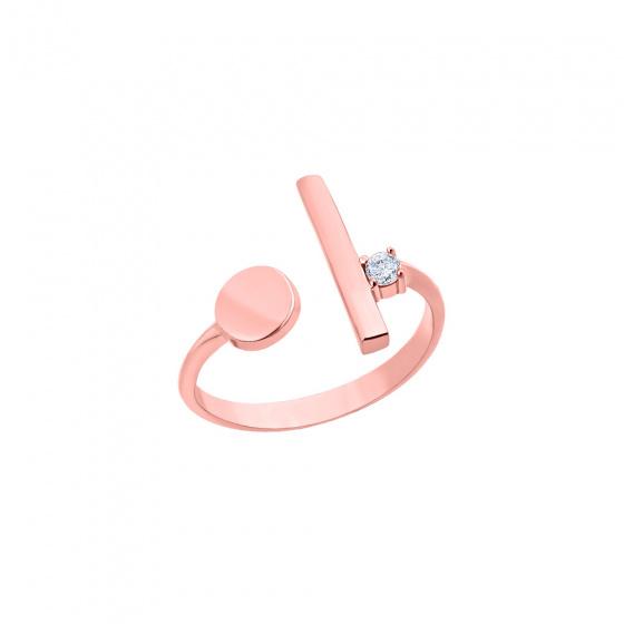 """Εικόνα του """"Ροζ χρυσό δαχτυλίδι Κ14 """"Dot & dash"""""""""""