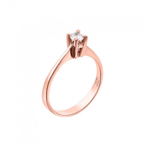 "Image of """"Eternity Premium 004"" rose gold engagement ring K18 with VS1 diamond"""
