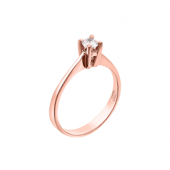 "Image of """"Eternity Premium 004"" rose gold engagement ring K18 with VS2 diamond"""