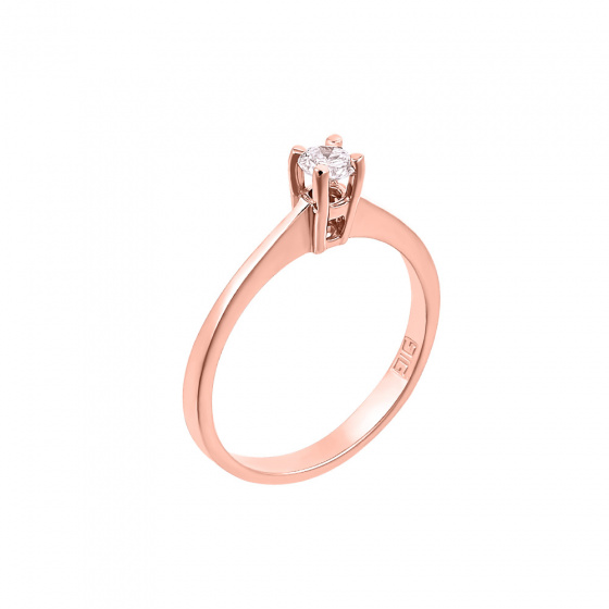 "Image of """"Eternity Premium 005"" rose gold engagement ring K18 with VS1 diamond"""