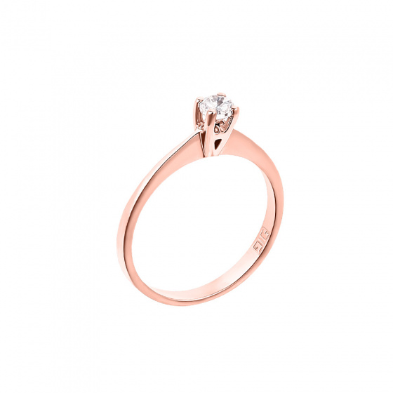 "Image of """"Eternity Premium 006"" rose gold engagement ring K18 with VS1 diamond"""