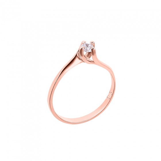 "Image of """"Eternity Premium 031"" rose gold engagement ring K18 with VS1 diamond"""