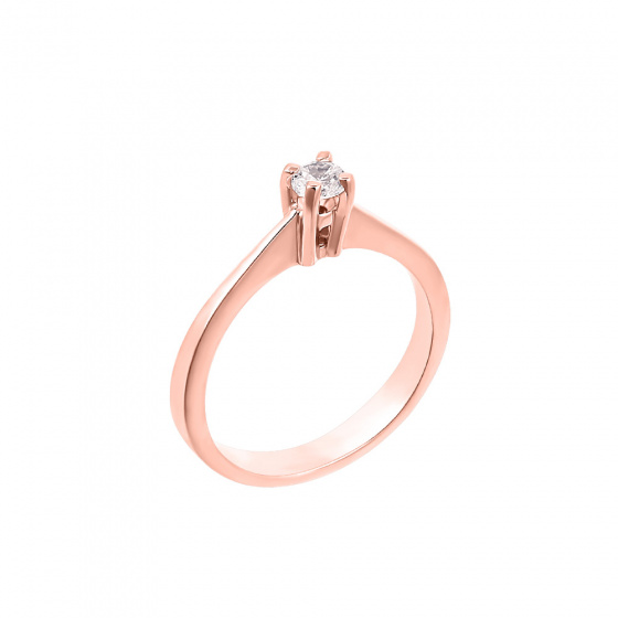 "Image of """"Eternity Premium 032"" rose gold engagement ring K18 with VS1 diamond"""
