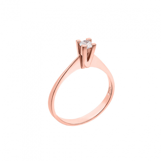 "Image of """"Eternity Premium 034"" rose gold engagement ring K18 with VS2 diamond"""