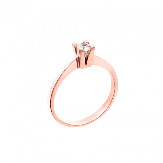 "Image of """"Eternity Premium 037"" rose gold engagement ring K18 with VS2 diamond"""