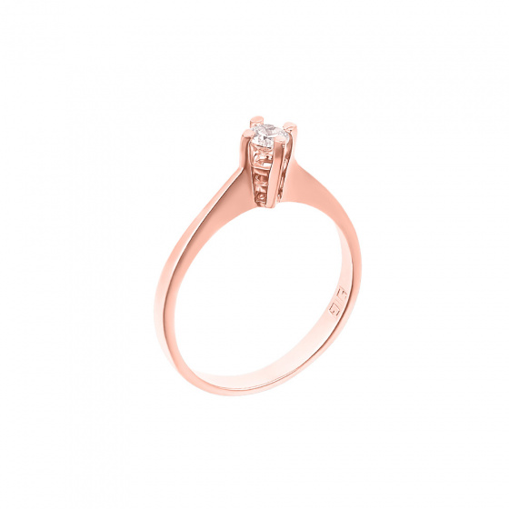 "Image of """"Eternity Premium 040"" rose gold engagement ring K18 with VS2 diamond"""