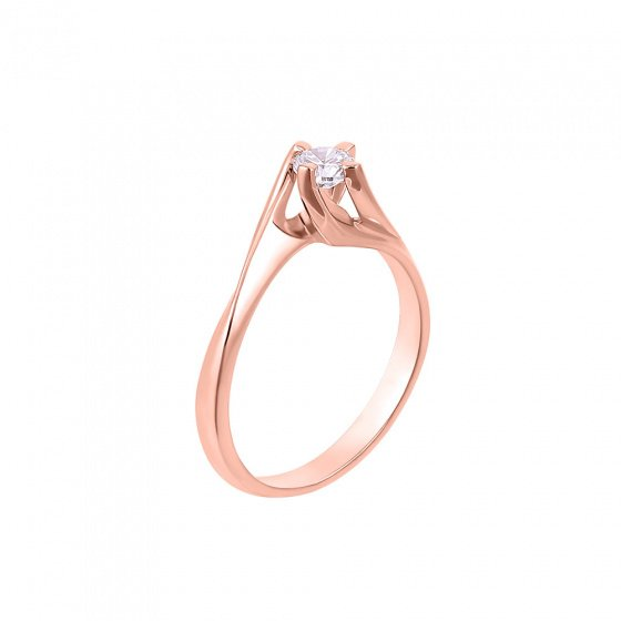 "Image of """"Eternity Premium 042"" rose gold engagement ring K18 with VS1 diamond"""