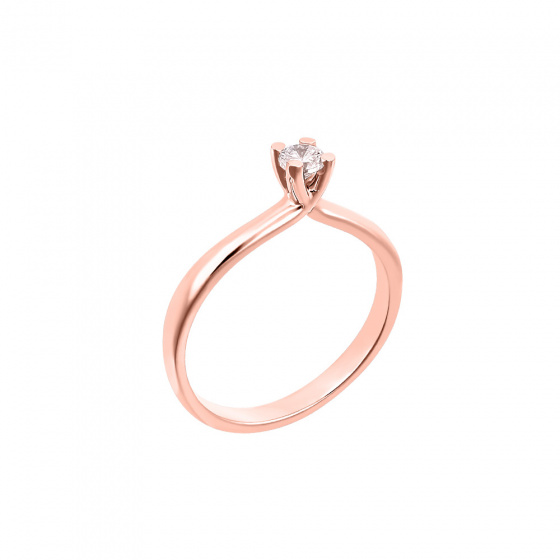 "Image of """"Eternity Premium 043"" rose gold engagement ring K18 with VS1 diamond"""