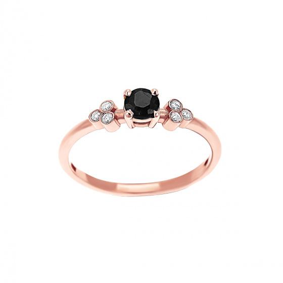 """Εικόνα του """"Ροζ χρυσό δαχτυλίδι Κ18 """"Triple Vintage Black"""" με μαύρο διαμάντι"""""""