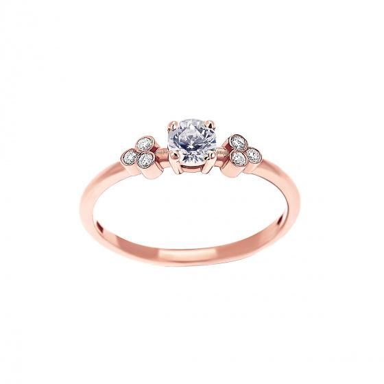"""Εικόνα του """"Ροζ χρυσό δαχτυλίδι Κ18 """"Triple Vintage White"""" με μπριγιάν VS"""""""