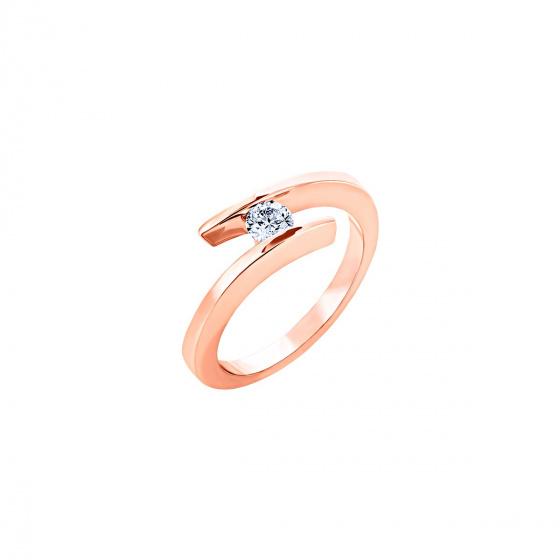 """Εικόνα του """"Ροζ χρυσό δαχτυλίδι Κ18 """"Fabulous"""" με μπριγιάν VS"""""""