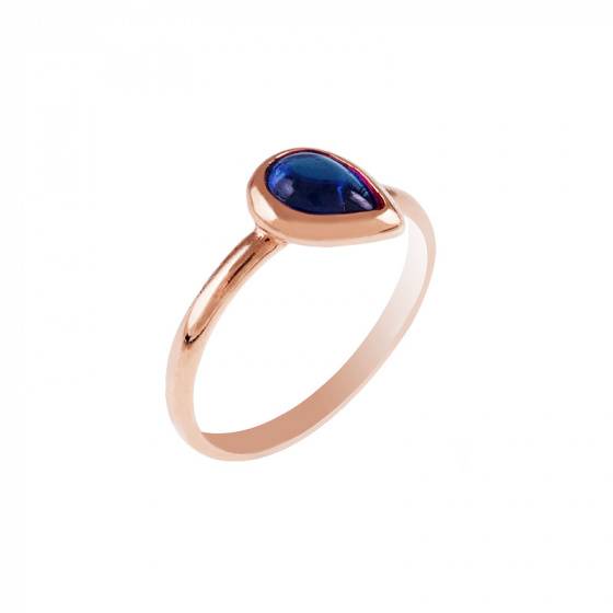 """Image of """"""""Blue Tear"""" silver ring rose gold plated"""""""