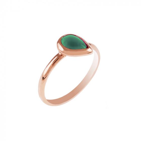 """Εικόνα του """"Ασημένιο δαχτυλίδι """"Green Tear"""" ροζ επίχρυσο"""""""