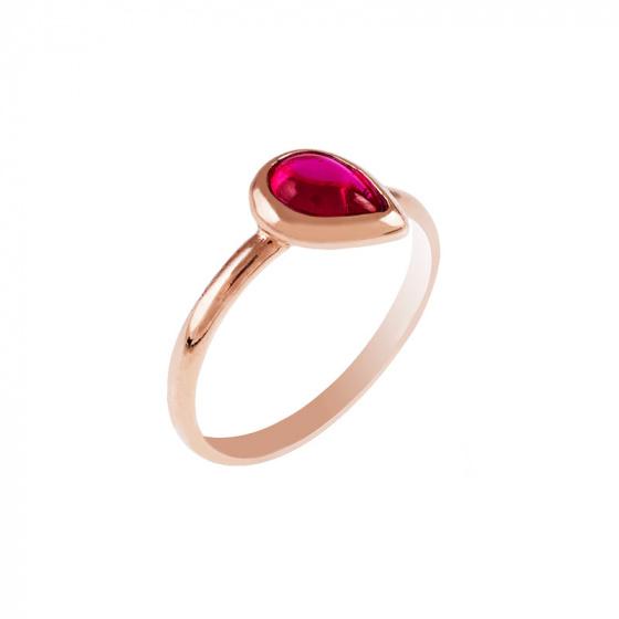 """Εικόνα του """"Ασημένιο δαχτυλίδι """"Red Tear"""" ροζ επίχρυσο"""""""