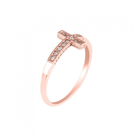 """Image of """"""""Holy Cross"""" silver ring rose gold plated"""""""
