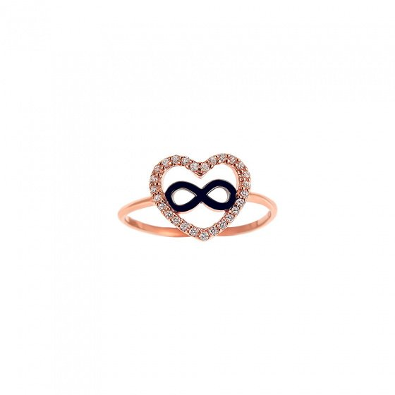 "Image of """"Heart & Infinity #1"" silver ring rose gold plated"""