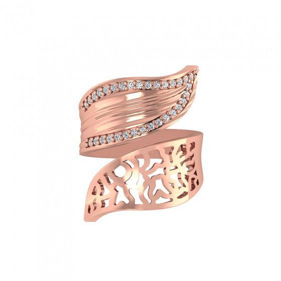 """Image of """"""""Twin Leaves"""" silver ring rose gold plated"""""""