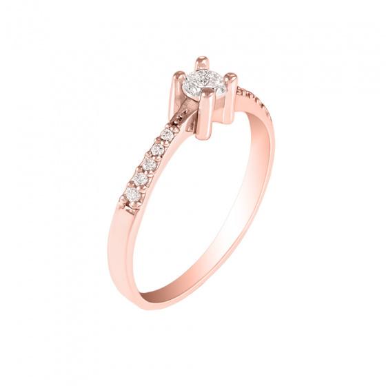 """Εικόνα του """"Ασημένιο δαχτυλίδι """"Starlight"""" ροζ επίχρυσο"""""""