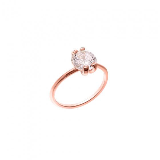 """Εικόνα του """"Ασημένιο δαχτυλίδι """"Grace"""" ροζ επίχρυσο"""""""