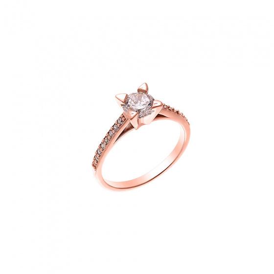 """Εικόνα του """"Ασημένιο δαχτυλίδι """"Chivalry"""" ροζ επίχρυσο"""""""
